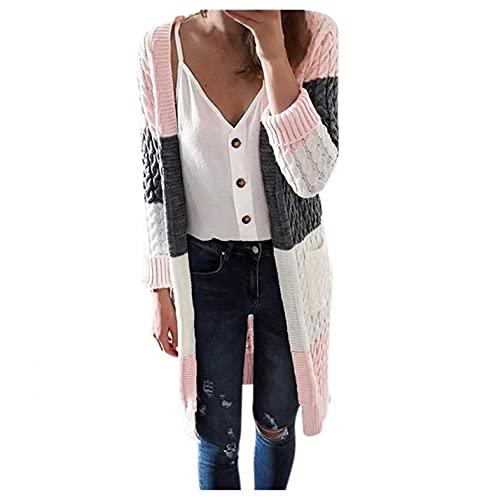 Dasongff Cardigan Pull Femme Tricoté Chandail Gilets Long Manches Longues Veste d'hiver Pull d'hiver Sweatshirt sans Capuche Tricot en Maille Outwear Torsadé Chaud Veste Ouvert