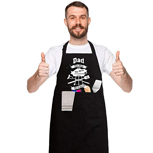 Funny Black Aprons for Men, Women with 2 Big Pockets Birthday Gifts for Husband, Dad, Son, Boyfriend, Friends, Mom - Kitchen Cooking Grilling BBQ Apron,Best Dad Apron Fathers Day Gifts for Dad