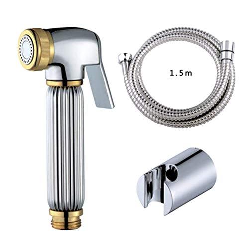 Bidet Shattaf Douche Spray Chroom Toilet Draagbare wc-plating sproeier sproeier douchekop Bidet Abs Houder 1,5 M slang Vast aan de muur
