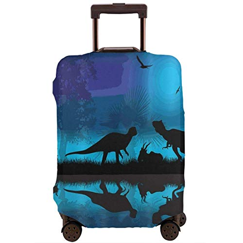Travel Suitcase Protector Dinosaurs River Moon Night Dinosaur Luggage Cover Protective Travel Trunk Case Elastic Suitcase Protector Covers Fits 18-21 Inch Luggage