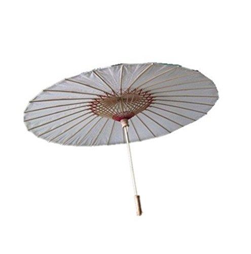 NO:1 Bambus chinesische japanische Stoffe Regenschirm Sonnenschirm Weiß