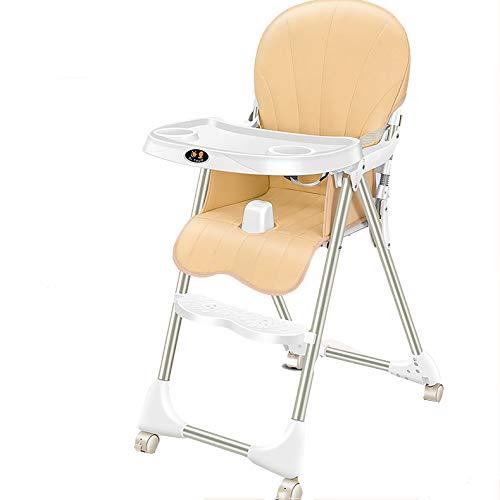 LITIAN Baby-Dining Chair Abendessen zusammenklappbar beweglich Baby-Stuhl Multifunktions-Lederpolster Rad Kinder Dining Chair Yellow
