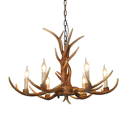 Deer Horn Antler Pendant Lamp Deer Horn Resin Chandelier Hanging Lamp Rural Antler Ceiling Fixture Light Retro Style Lights (US Stock) (6 Heads)