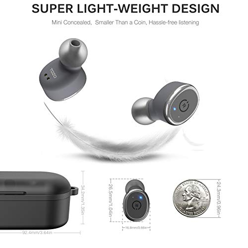 TOZO T10 Bluetooth 5.0 Wireless Earbuds with Wireless Charging Case IPX8 Waterproof TWS Stereo Headphones in Ear Built in Mic Headset Premium Sound with Deep Bass for Sport Gray