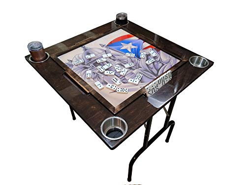 Domino Table with Puerto Rico Flag - Anti-scrash and Water-Resistant(Legs Included)