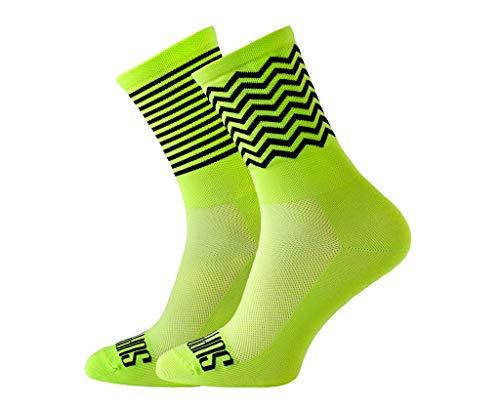 Soporte de calcetines de ciclismo para hombre, tecnología transpirable de fibra antideslizante, unisex, divertidos patrones de ciclista, color Zig Zag Lima, tamaño 8-9 UK / 42-44 EU