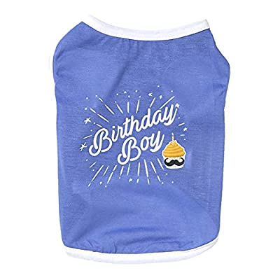 """PanDaDa Dog Summter Cotton Vest with""""Birthday Boy"""" Letters, Dog Clothing T Shirt for Spring Summer Thin Cotton Vest Breathable Sleeveless T-shirt (Blue, Pink)"""