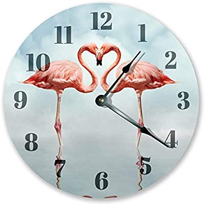 hiusan Modern Sweet Heart Shaped Flamingos Wood Wall Clocks Decorative Silent Non Ticking 12 inch Living