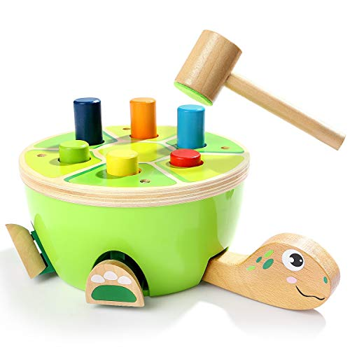 HLD Tortuga de madera juego de percusión de aprendizaje ayuda forma de reconocimiento de color de la educación temprana de la infancia del cerebro juego de bebé y niños juguetes