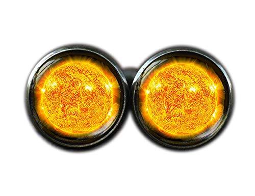 Soleil Boutons de manchette, Univers Galaxy Boutons de manchette, boutons de manchette, espace Soleil dôme en verre Boutons de manchette
