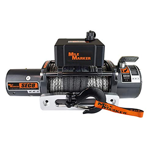 Mile Marker 77-53141W SEC8 Scout(ES) Truck/Jeep/SUV Element Sealed Electric Winch with Synthetic Rope - 8,000 lb. Capacity, 1 Pack