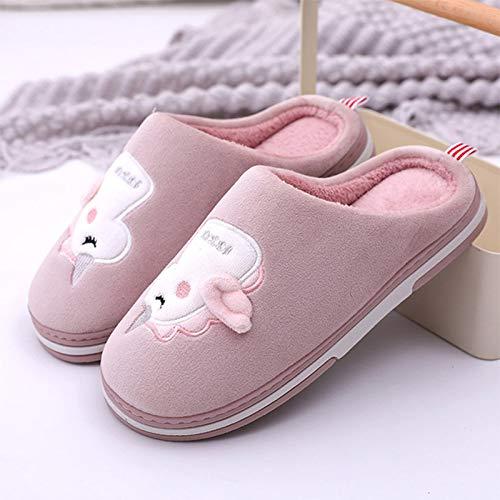 Zapatillas De Casa Mujer Home Pareja Zapatillas Piel Roja Lindo Dibujos Animados Unicornio Patrón Señoras Algodón Zapatillas De Vestir Zapatos De Casa Mujer Casual Grueso Tacones Zapatos Planos,36