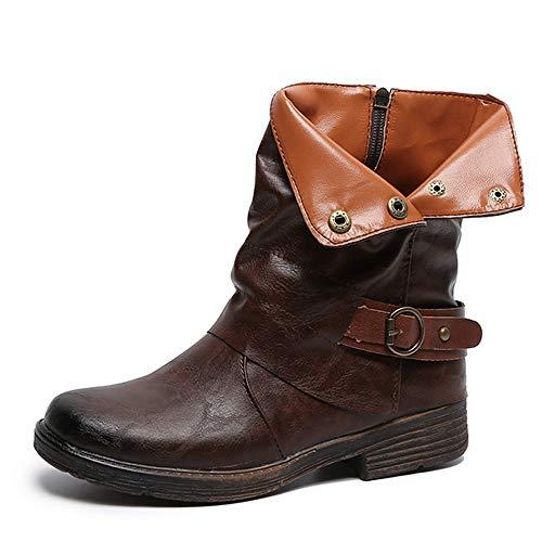 JURTEE Damen Winter Stiefel Weinlese Runde Spitze Leder Booties Zipper Martin Stiefel Quadratische Ferse Schuhe Profilsohle Plateau Winterstiefel