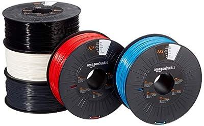 Amazon Basics ABS 3D Printer Filament, 1.75mm, 5 Assorted Colors, 1 kg per Spool, 5 Spools