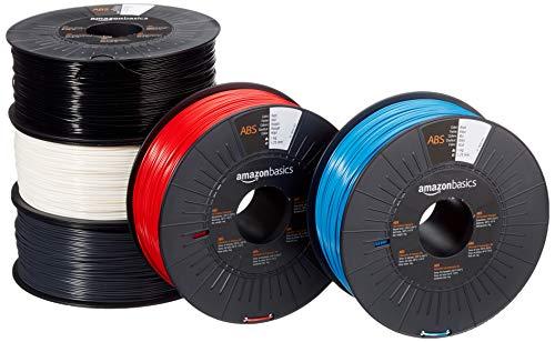 Amazon Basics - Filamento para impresora 3D, plástico ABS, 1,75 mm, 5 cintas de 1 kg cada una, 5 colores diferentes