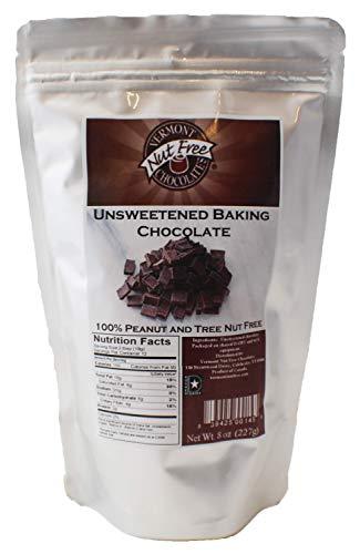 Vermont Nut Free Chocolates Unsweetened Baking Chocolate 8 oz, 2 Bags