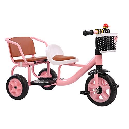 Afang Tandem Fahrrad Tricycle, Multifunktionskinder Holen Leute Doppelsitz Unterhaltung 4 Farboptionen Geburtstags Geschenk Frühförderungsfahrzeug,Rosa