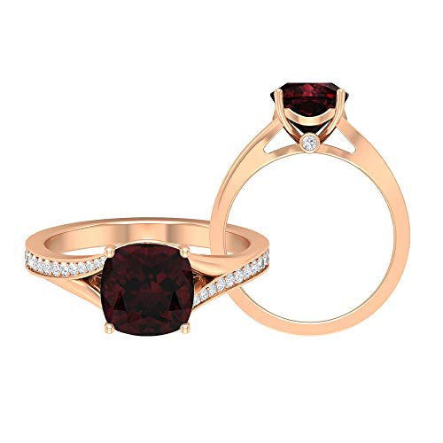 Rosec Jewels 18 quilates oro rosa cojín round-brilliant-shape H-I Red Diamond Garnet