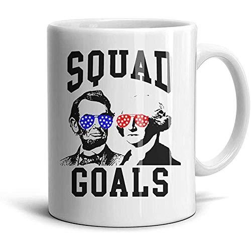 Día de los presidentes Washington Squad Objetivos Metas Novedad Taza de café con leche-Gran regalo, taza