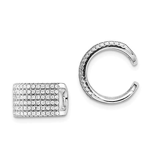 925 Sterling Silver Pave Cubic Zirconia Cz Single Individual Ear Cuff Non Pierced Fine Jewelry For Women Gifts For Her