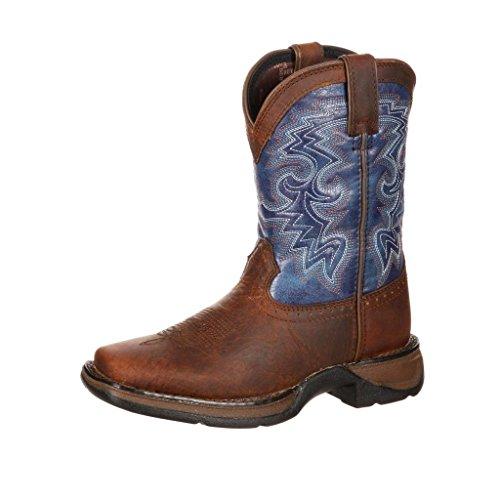 M&F Western Kids Trace Baby Boy's Infant/Toddler Bucker Boot First Walker Shoe, Brown/Black, 1