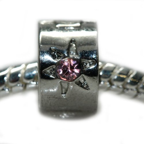 Sexy Sparkles Women's Clip Lock Stopper Bead Flower W/Pink StonesCharm