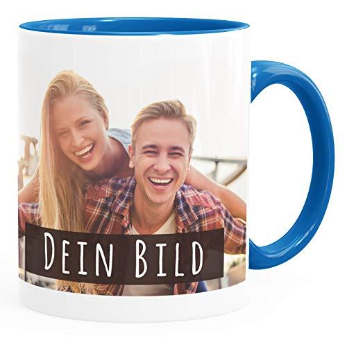 SpecialMe® personalisierte Fototasse mit eigenem Foto persönliches Geschenk Kaffeetasse mit Bild selbst gestalten inner-blau Keramik-Tasse