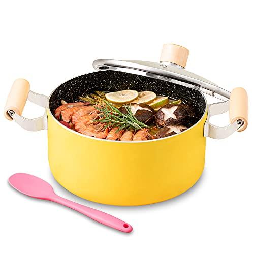 Stock Pot, Nonstick Soup Pot Pasta Cooking Pot with Lid, Cast Aluminum Casserole Dutch Oven with Double Wooden Handle, 3.3 Quart, Yellow