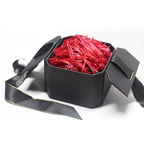 Hbsite Gift Box Regalo Scatola Scatola regalo riutilizzabile con scatola regalo sorpresa con riempimento (Carta rossa tagliuzzata) per matrimonio, compleanno, Natale 15 * 15 * 10cm