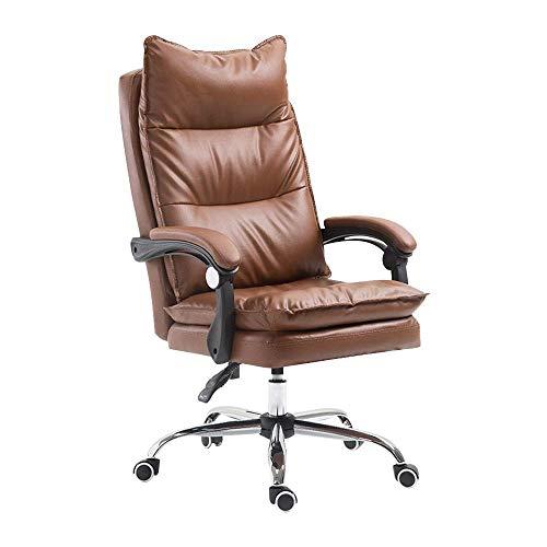 N/Z Tägliche Ausstattung Ergonomischer Pu-Leder-Bürostuhl Schreibtisch Computerstuhl Drehbarer Stuhl mit hoher Rückenlehne Beige
