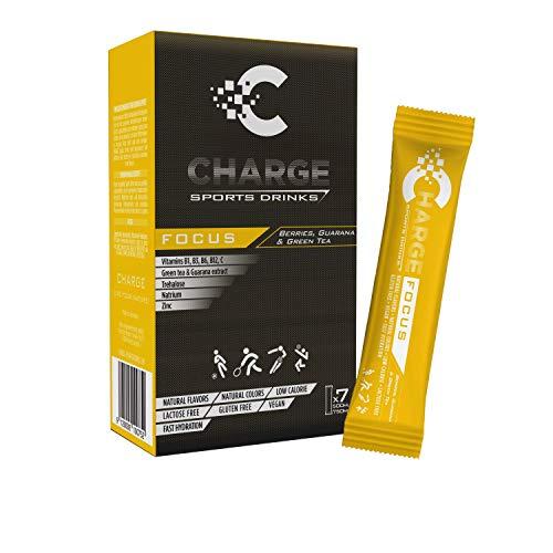 CHARGE Sportgetränke-Pulver - FOCUS - volle Konzentration für Sportler - hypotonisch - Alternative zu isotonischen Drinks - mit Koffein, Zink, Elektrolyte & Mineralstoffe - Beeren-Geschmack - 7 Sticks