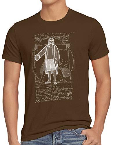 style3 Vitruvianischer Dude Herren T-Shirt Lebowski Bowling Bowler Big, Größe:XXXL, Farbe:Braun
