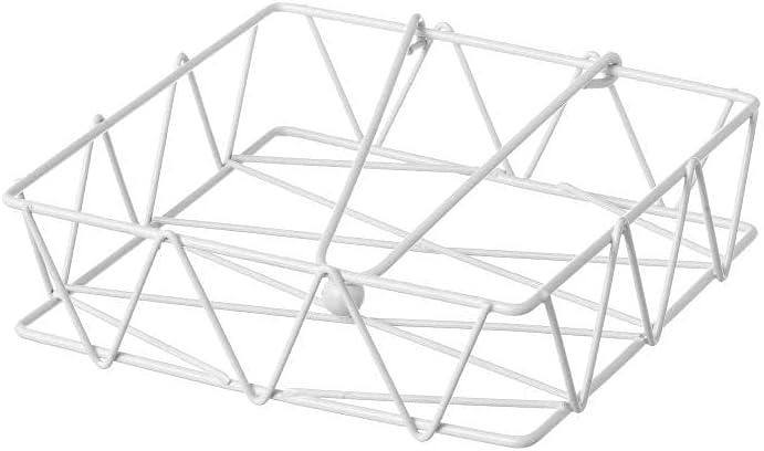 Servilletero de Mesa Cuadrado de Metal Blanco de 18 x 18 x 5 cm