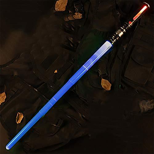 Sable de luz LED para niños, sable de luz de Star Wars, espada de juguete extraíble y plegable con sonido, sable de luz para carnaval o carnaval Blue