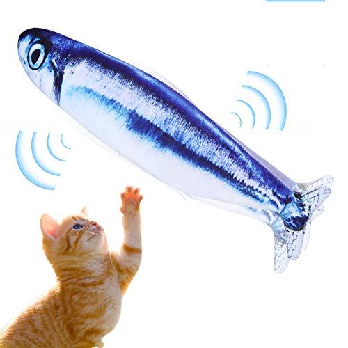 Mersuii 猫 おもちゃ 動く魚 電動魚 猫用 ぬいぐるみ 動く 魚おもちゃ USB充電式 フィッシュキャットトイ ぴちぴちとはねる 運動不足 ストレス解消 爪磨き 噛むおもちゃ (サンマ)