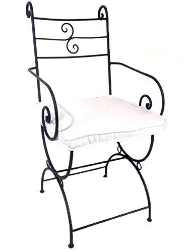 Originele Oosterse stoel tuinstoel van metaal zwart Almagro | Marokkaanse balkonstoel incl. zitkussen stoelkussen | ijzeren stoel als bistrostoel | Mediterrane decoratie in tuin of balkon