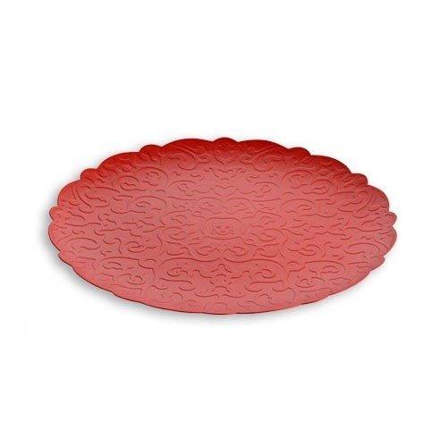 Vassoio Rotondo In Acciaio Col. Rosso Cm 35 Dressed