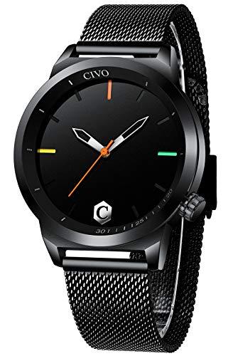 CIVO Reloj Hombre Negro Delgado Minimalista Elegante Relojes Hombre Acero Inoxidable Impermeable Analogico Relojes de Pulsera Deportivo Casual Cuarzo Sencillo