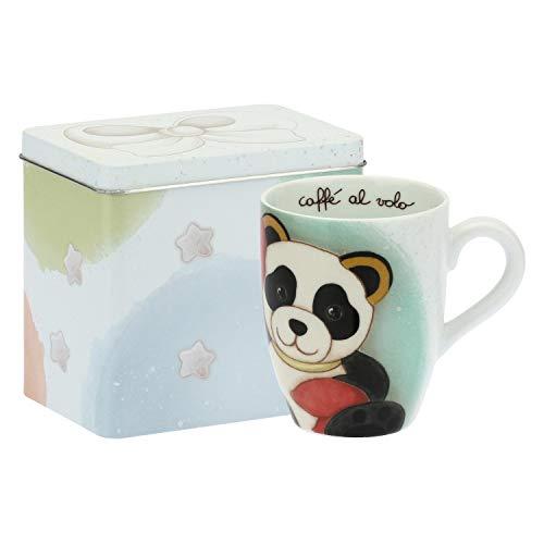 THUN  - Mug Panda Cancer con Scatola in Latta per tè, caffè, tisana - Porcellana - 300 ml - Ø 8,5 cm