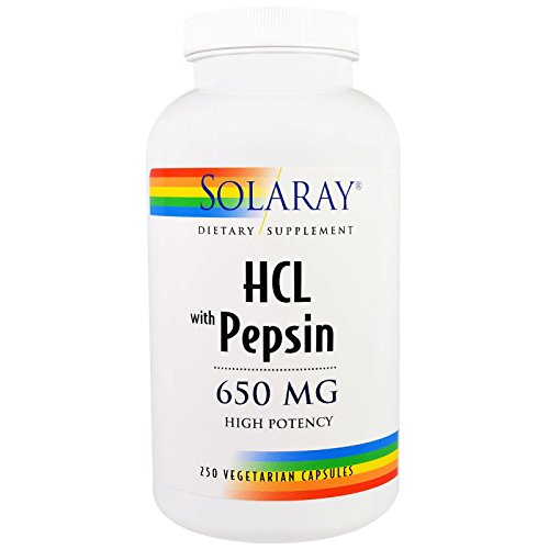 Solaray High Potency Betaine HCL with Pepsin 650 mg | Hydrochloric Acid Formula for Healthy...