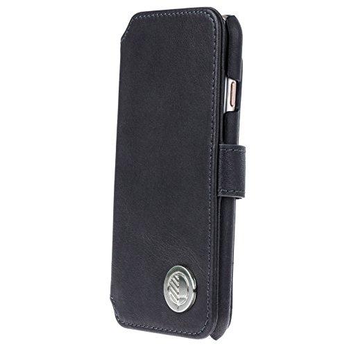 Drew Lennox - Funda tipo cartera para iPhone 6 (piel, incluye 3 ranuras para tarjetero, función atril), color negro