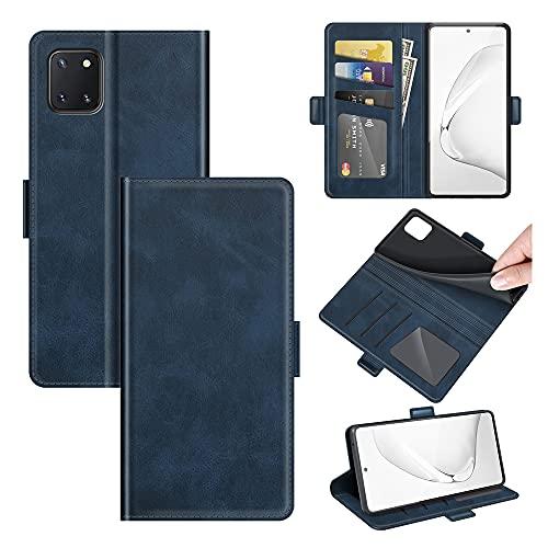 AKC Funda Compatible para Samsung Galaxy Note 10 Lite/M60S/A81 Carcasa Caja Case con Flip Folio Funda Cuero Premium Cover Libro Cartera Magnético Caso Tarjetero y Suporte-Azul