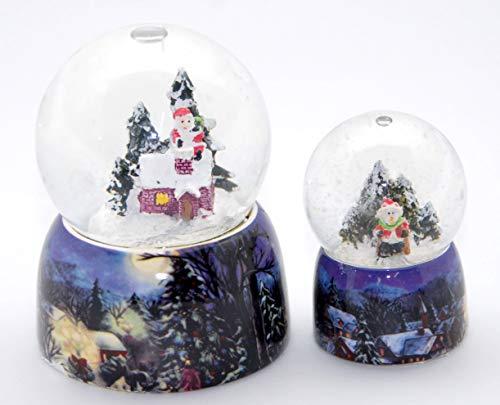 Minium Collection 2-07b-82b 2 süße Weihnachts Schneekugeln mit Schneemann und verschneiter Winterlandschaft 65mm + 45 mm Durchmesser mit Luftblase