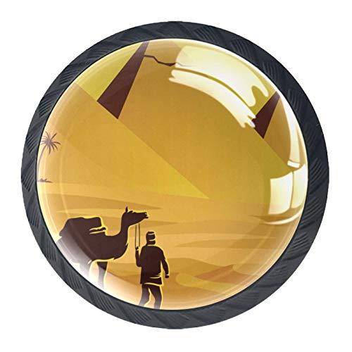Z&Q Pomos y Tiradores Infantiles Pirámide de Egipto Camello 4 pcs Decorativo pomos para Puerta cajón Armario de Muebles Asas de Puerta de Armario 3.5x2.8CM