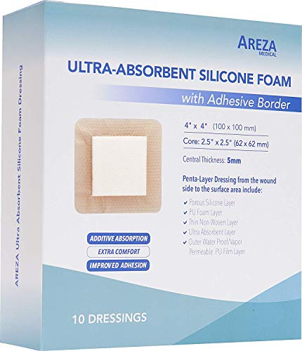 Ultra-Absorbent Silicone Foam Dressing with Border (Adhesive) Waterproof 4' X 4' (10 cm X 10 cm) (Central Ultra-Absorbent Foam 2.5' X 2.5') 10 Per Box (1) Wound Dressing by Areza Medical