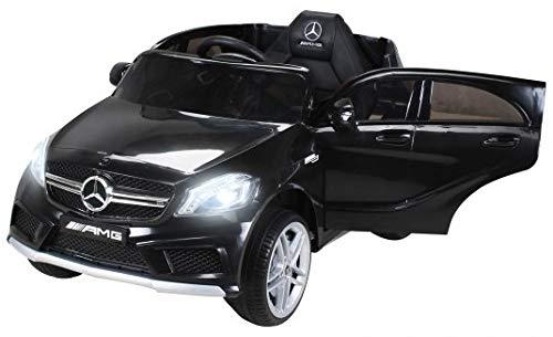 Kinder Elektroauto Mercedes Benz AMG A45 - Lizenziert - 2 x 45 Watt Motor - Ledersitz - Rc 2,4 Ghz Fernbedienung - Usb - FM Radio - Sd Karte - Elektro Auto für Kinder ab 3 Jahre (Schwarz)