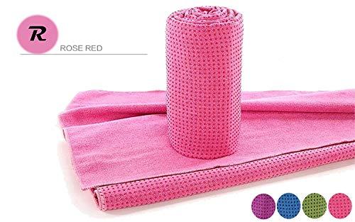 Handtuch für Yogamatte inkl Tasche, Rutschfest durch Silikonpunkte, 183cm x 63cm, Geeignet für Yoga, Freeletics, Antibakteriell,Schweiß absorbierend, Premium Mikrofaser Qualität, (Pink)