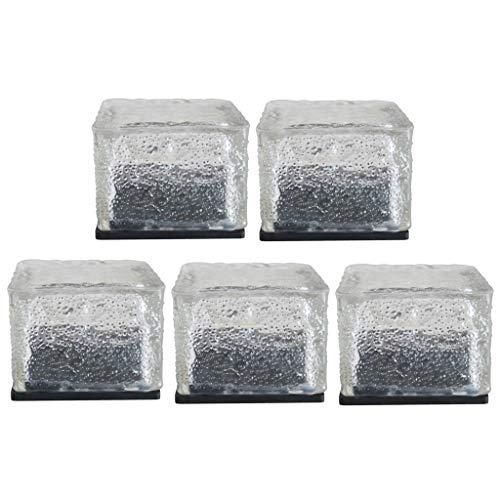 Fenteer 5X Solar Ice Cube Luces LED Lámpara de Noche de Piedra de Ladrillo de Cristal de Vidrio Impermeable