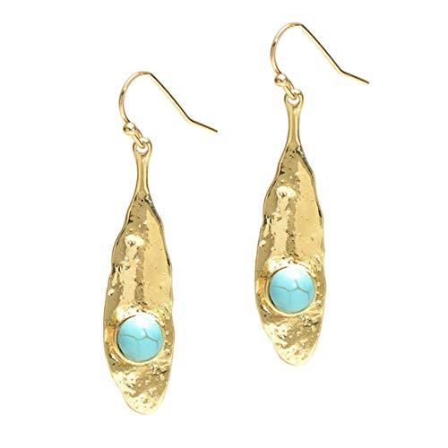QIN Vintage Piedra Natural Gotas Pendientes Azul Negro Piedra Hoja Forma Larga oído Colgante