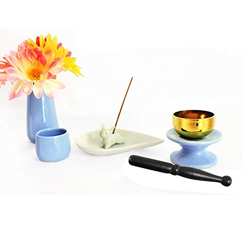 ペット仏具 6点セット ブルー おりん(こりん) ウサギ 型お線香立て ハート型お香皿つき